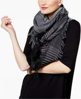 Eileen Fisher Wool Blend Fringed Check-Print Scarf