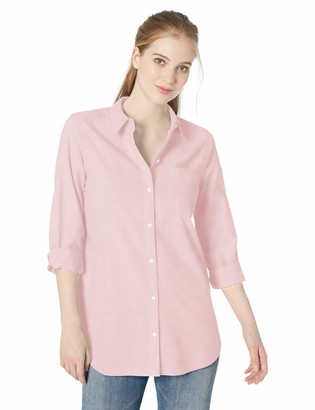 Daily Ritual Broken-in Cotton Relaxed Boyfriend Shirt Button