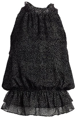 Ramy Brook Bobbi Micro-Dot Ruffled Stretch Silk Peplum Halter Top