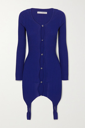 IOANNES Ribbed-knit Cardigan - Blue