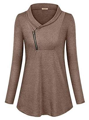Womens Casual Long Sleeve Cowl Neck Shirt Zipper Solid Sporty Sweatshirts