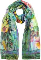Laura Biagiotti Emerald Green Tropical Printed Chiffon Silk Stole