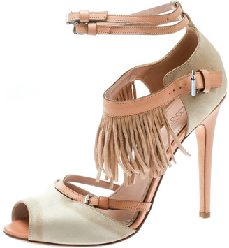 Giambattista Valli Beige Satin/Leather Trim Fringe Ankle Strap Sandals Size 40.5