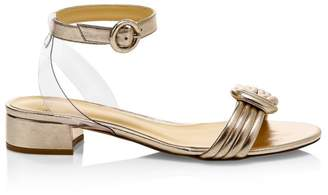 Alexandre Birman Vicky Metallic-Leather Knot Ankle Strap Sandals