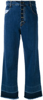 Semi-Couture Semicouture - frayed wide cropped jeans - women - Cotton/Polyester - 26