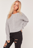 Missguided Grey Cable Cropped Sweater