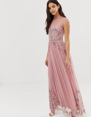 Maya allover premium embellished mesh cap sleeve maxi dress in vintage rose-Pink