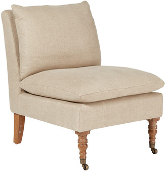 OKA Apadana Herringbone Linen Armless Chair - Natural
