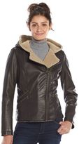 Levi's Women's Faux-Leather Hooded Motorcycle Jacket