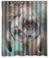 Shower Curtain Company 60(W)(H)-Inch Waterproof Bathroom Best Cool Wolf Dream Catcher Shower Curtain