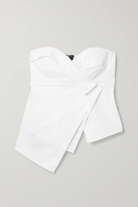 RtA Nelly Asymmetric Cotton-poplin Bustier Top - White