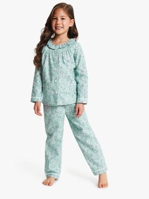 John Lewis & Partners Girls' Floral Print Pyjamas, Blue