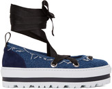 MSGM Blue Denim Platform Ballerina Flats