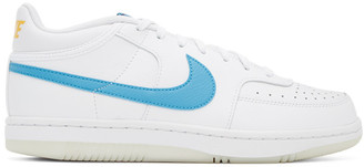 Nike White and Blue Sky Force 3/4 Sneakers