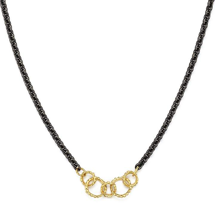 Armenta 18K Yellow Gold & Sterling Silver Old World Champagne Diamond Circle Link Necklace, 17""
