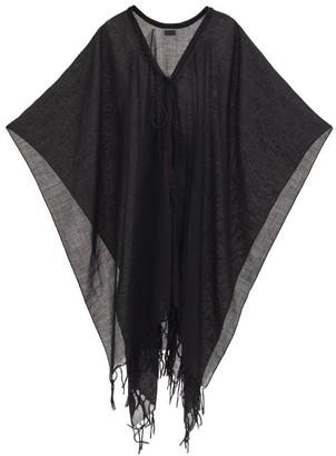 Saint Laurent Tasselled-cord Wool-gauze Poncho - Black