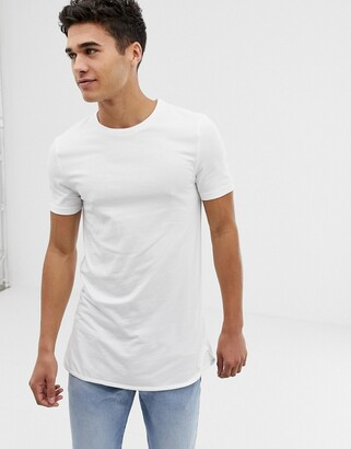 Asos Design DESIGN longline muscle fit t-shirt and bound curved hem in white