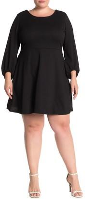 Vanity Room Blouson Sleeve Textured Knit Dress (Plus Size)