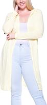 Yellow Hood-Accent Long Open Cardigan - Plus
