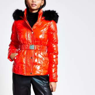 River Island Womens Red quilted faux fur hood fitted jacket