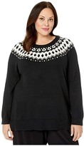 Vince Camuto Specialty Size Plus Size Long Sleeve Embellished Yoke Jacquard Sweater (Rich Black) Women's Clothing