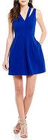 CeCe Sleeveless Invert Pleat Dress with Shoulder Cutouts