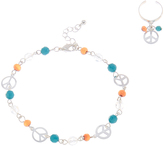 Carole Brown & Blue Beaded Peace Sign Anklet & Toe Ring