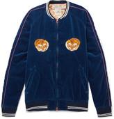 Remi Relief Appliquéd Cotton-velvet Bomber Jacket - Indigo