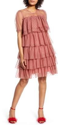 Halogen x Atlantic-Pacific Tiered Mesh Dress