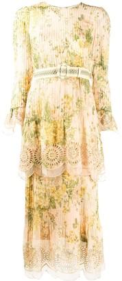 Zimmermann Tiered Floral Print Midi Dress