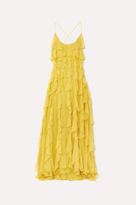 Valentino Open-back Ruffled Silk-organza Gown - Yellow