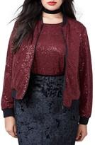 Rachel Roy Plus Size Women's Sequin Bomber Jacket