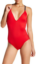 Nautica Topsail V-Neck Solid One-Piece Swimsuit