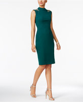Vince Camuto Embellished Mock-Neck Sheath Dress