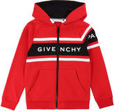Givenchy Boy's Logo Mini Me Hooded Zip-Front Cardigan, Size 4