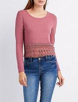 Charlotte Russe Ribbed Crochet-Hem Top