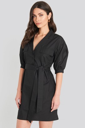 NA-KD Puff Sleeve Chest Pocket Mini Dress Black