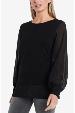 Vince Camuto Women's Long Sleeve Knit Top with Chiffon Sleeves