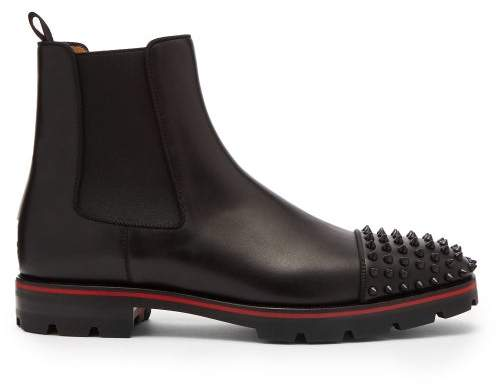 Christian Louboutin Melon Spike Embellished Leather Chelsea Boots - Mens - Black