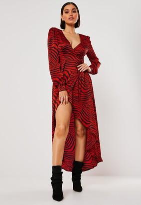 Missguided Red Zebra Print High Low Wrap Midi Dress