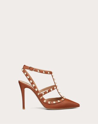 Valentino Rockstud Grainy Leather Ankle Strap Pump 100 Mm Women Saddle Brown Calfskin 100% 35