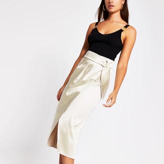 River Island Womens Cream buckle waist satin wrap midi skirt