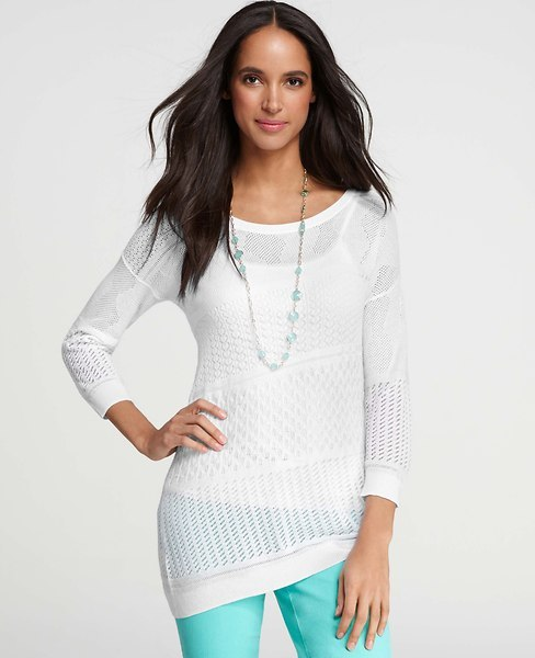 Ann Taylor Petite Lace Stitched Asymmetrical Sweater