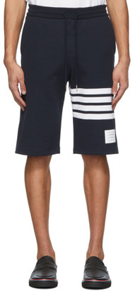 Thom Browne Navy Jersey 4-Bar Shorts