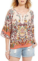 Democracy Printed Cold-Shoulder Lace-Up Henley