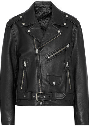 Nili Lotan Rebel Fringe-trimmed Textured-leather Biker Jacket