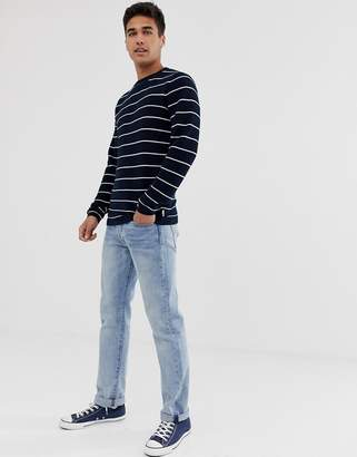 Burton Menswear striped crew neck jumper in navy ecru