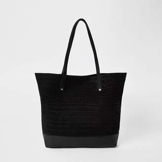 River Island Black leather tote shopper bag