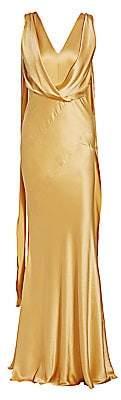 Alberta Ferretti Women's Sleeveless Draped Silk Gown