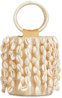 Sensi Mini Embellished Straw Bucket Bag